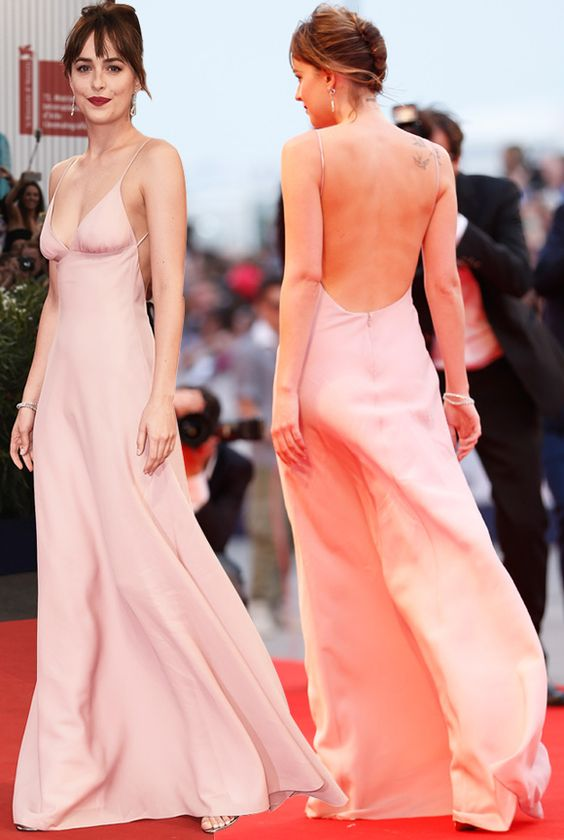 2017 Sexy Inspired by Dakota Johnson Celebrity Dress Prom Red Carpet Dress  A line Pink Deep V neck Backless Evening Dress-in Celebrity-Inspired Dresses  from ... f1ef060d15f7