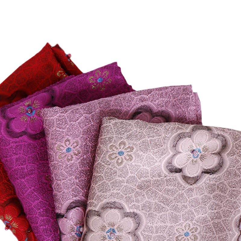 Ladies lace beads hijab flower scarf shawls muslim lightweight scarves pearls polyester wraps fashion headband scarves