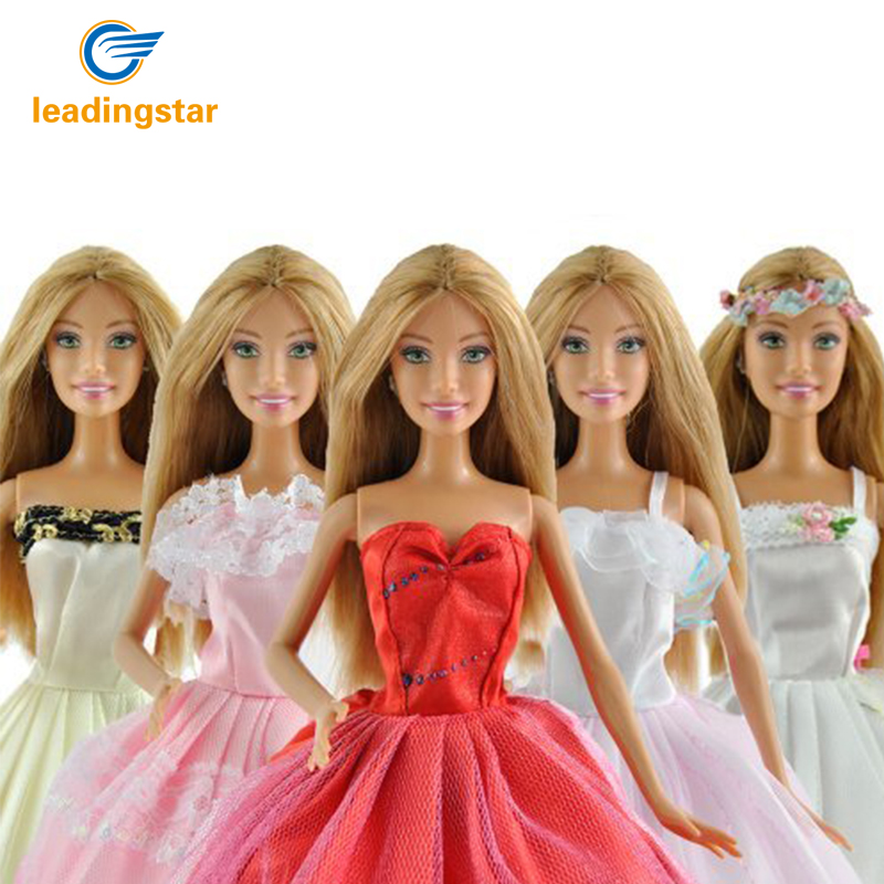 LeadingStar 5 Pcs/lot Fashion Handmade Clothes Dresses Grows Outfit for Barbie Doll dress for girls Random Types and Colors leadingstar barbie doll dresses 6 party dress 12 casual skirt set random color and styles with doll s accessories zk30