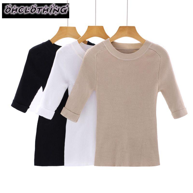 OHCLOTH 2017 رئيس الأكمام متماسكة الإناث المنخفضة - خمسة ضئيلة عارضة قميص ثلاثة أرباع الأكمام قميص الإناث نصف كم سترة