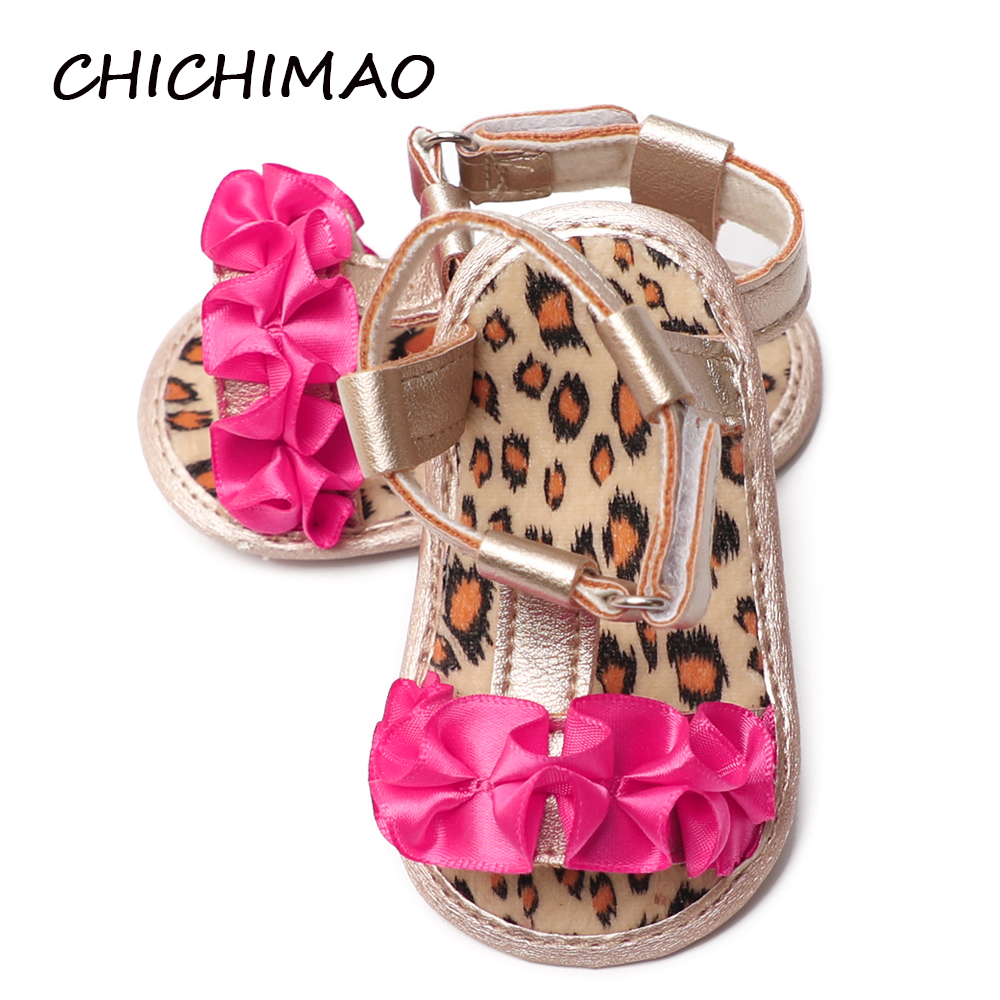 Newborn Learn Baby Shoes Girls Leopard Summer Anti-slip Polka Dot Bottom Crib PU Leather Flower First Walkers 0-18 Months