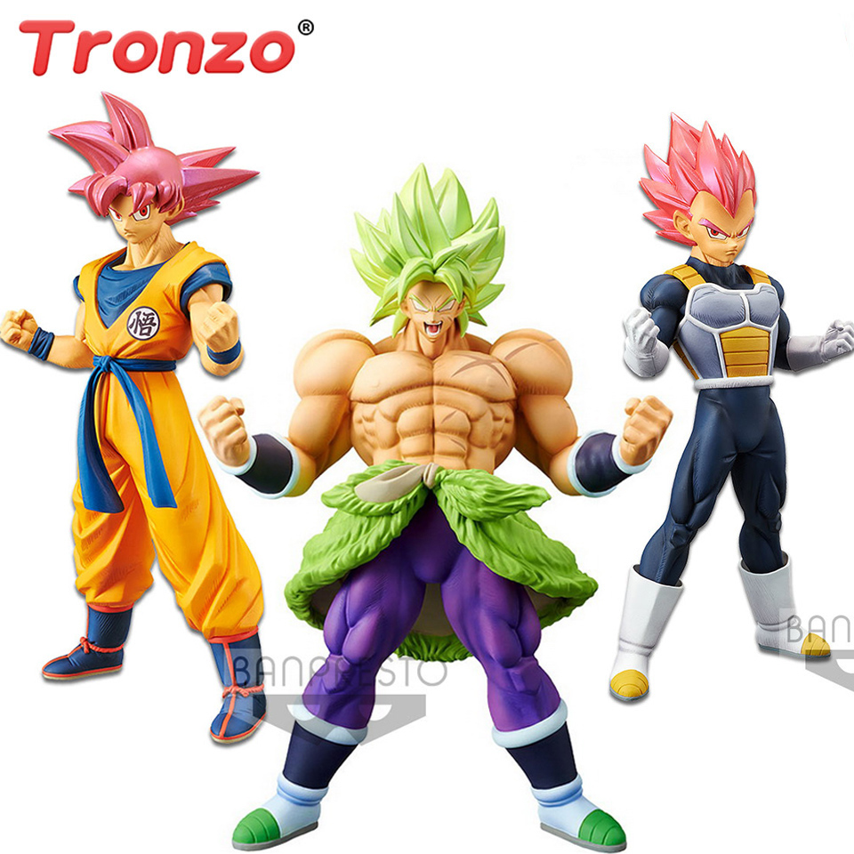 Tronzo Original Banpresto Action Figure Dragon Ball Super Broly Full Power Goku Vegeta Red Hair PVC Figure Model Toys in Stock