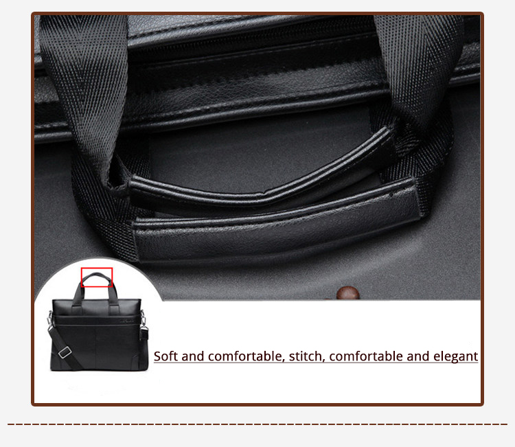 2020 Men's Business Black Casual Bag pu leather Briefcase men's Tote bags Brown High quality male Business large capacity