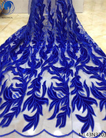 BEAUTIFICAL french tulle lace fabrics 2019 high quality velvet laces fabrics african fabric dress 5yards/lot ML43N32