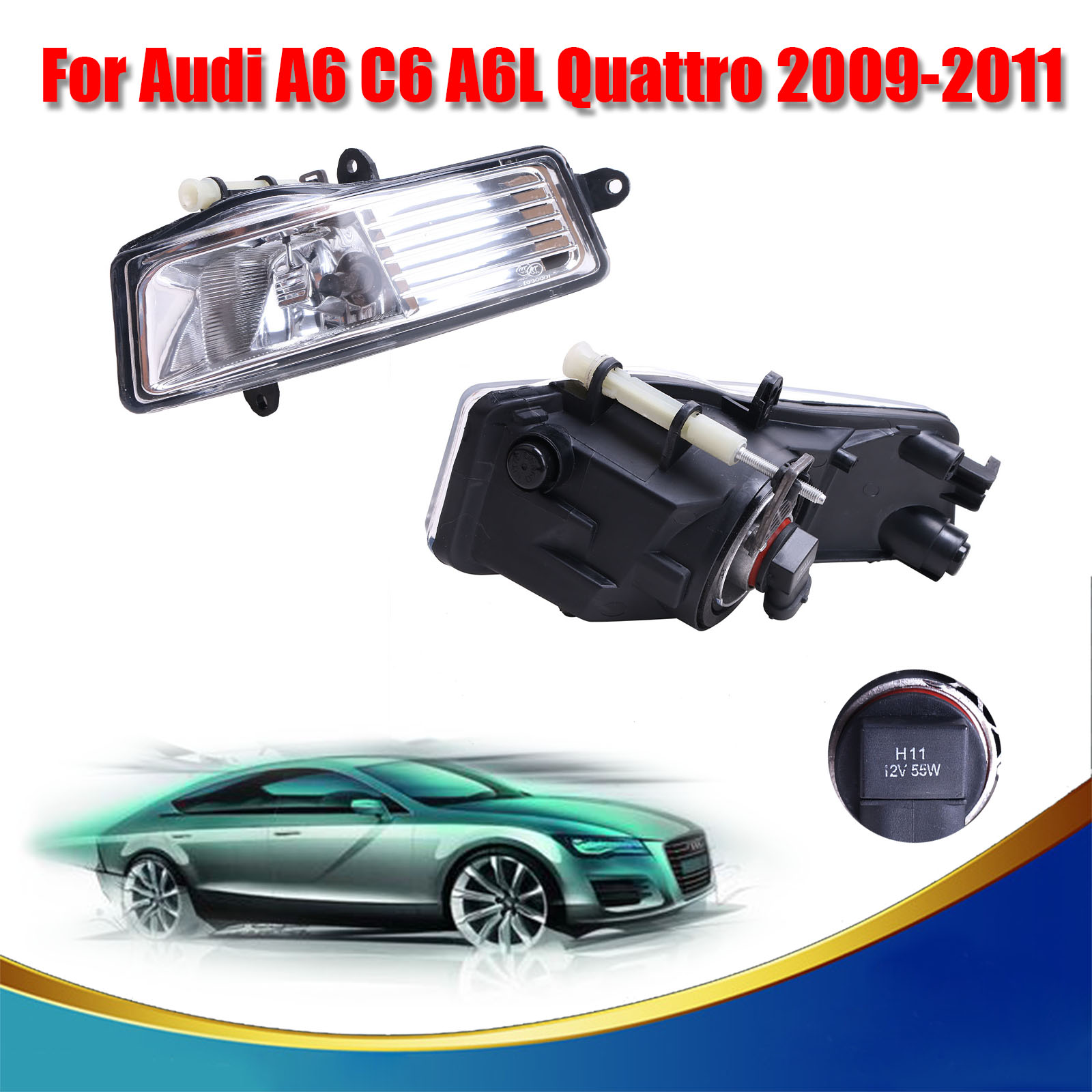 Oem 4fd941699a 4fd9416700a 2x front fog light lamp set for audi a6 c6 a6l quattro 2009