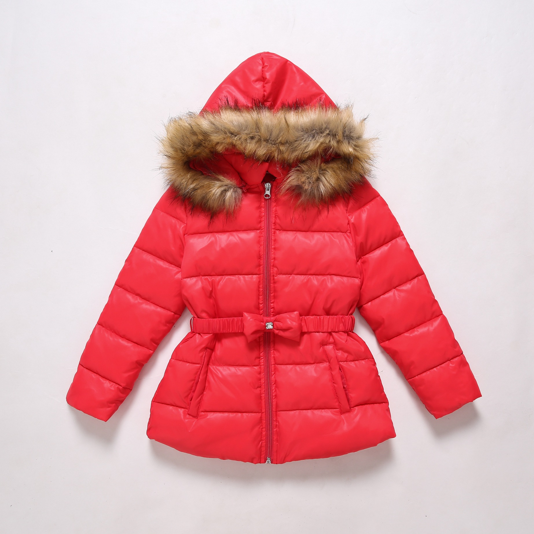 2018 Fashion Children Winter Jacket Girl Red Cotton-padded Coat Kids Warm Thick Fur Collar Hooded Outwear 4 5 6 7 8 9 10 Yrs 2015 winter new women medium long 8 colors l 4xl hooded wadded outwear coat fur collar thick warm cotton jacket parkas lj2992