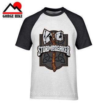 Camisetas de algodón Rock con diseño creativo de Ragnarok battleax de los hijos de Odin vikingos Nordish Odín y Thor God Stormbreaker