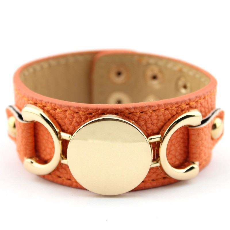 Wholesale Silver & Gold Blank Monogram Leather Wrap Bracelets for Women Fashion Snap Jewelry 30