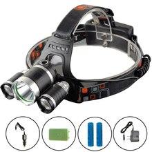 EZK30 Head Lights Lamps Torch 3 t6 Headlamp Cree T6 LED Headlight 13000 Lumen 4Modes Head Flashlight Sauna Fishing Tail Lights