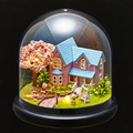3D Handmade DIY Building Wood Puzzle Jigsaw Furniture Handcraft Miniature Box Kit with Cover LED Light Model Kids Toy B016