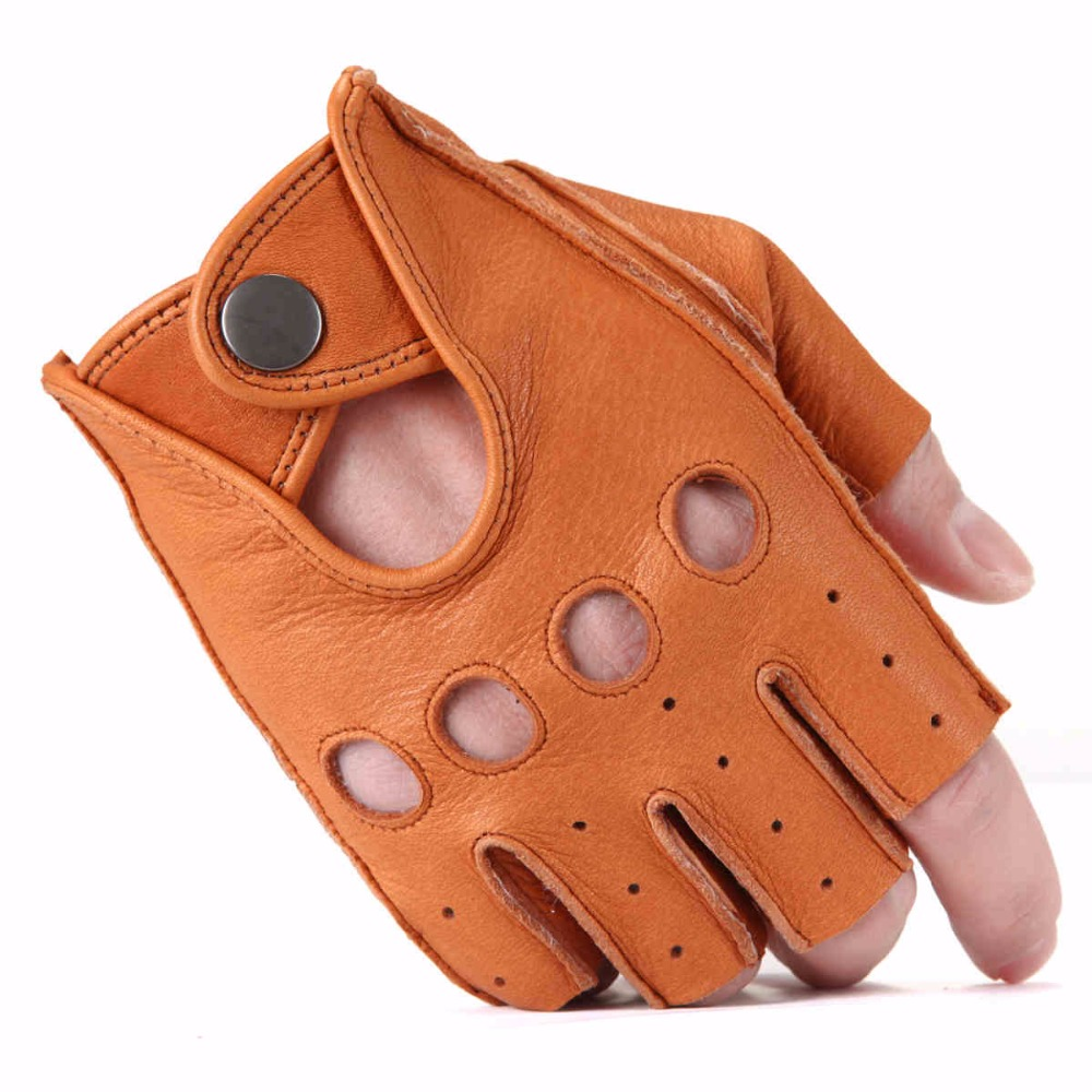 Honda leather driving gloves - Men Deerskin Gloves Wrist Half Finger Driving Glove Solid Adult Fingerless Mittens Real Genuine Leather Mittens