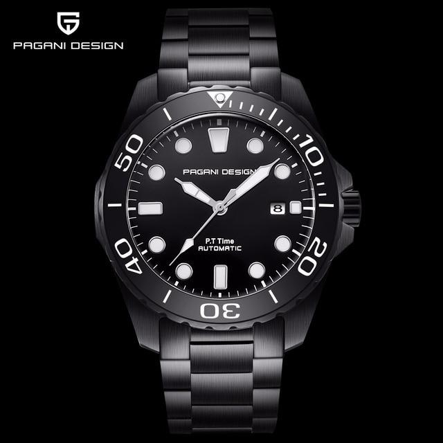 Pagani Mechanical Automatic Mens Watch Sport Black Fashion military waterproof Watch Men steel Male wristwatch Relogio Masculino