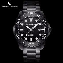 Pagani מכאני אוטומטי Mens שעון ספורט שחור אופנה צבאי עמיד למים שעון גברים פלדת זכר שעוני יד Relogio Masculino