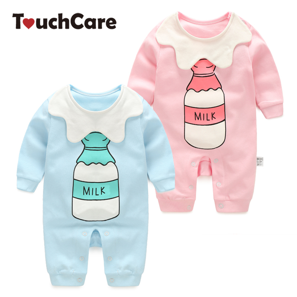 Newborn Cotton Cute Milk Printed Baby Boy Girl Rompers Infant Long Sleeve Soft Jumpsuits O-Neck Toddler Costume infant cute cartoon dinosaur baby boy girl rompers soft cotton car printed long sleeve toddler jumpsuit kids clothes