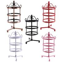 Metal Rotating Jewelry Display Stand 72 Holes Necklace Bracelet Earrings Three Layer Hanger Holder Organizer Rack