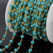 5Meters Peacock blue Green Glass Faceted Rondelle Rosary Chains,Gold Plated Wire Wrapped loop Chains Necklace bracelet making