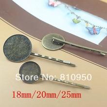 Envío gratis 50 unids/lote de cobre de bronce antiguo 18 MM / 20 MM / 25 MM Base del camafeo del Pin de pelo clips con Pad resultados de la joyería accesorios