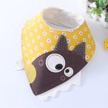 Sales!!! Baby Bandana Bib Cotton Baby Bibs Cartoon Adjustable Triangle Meal Feeding Infant Burp Cloths 0-2T(China)
