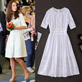 High Quality 2016 Summer And Autumn New Princess Kate Same Style Women's Fashion Hollow Water-Soluble Embroidery Dress
