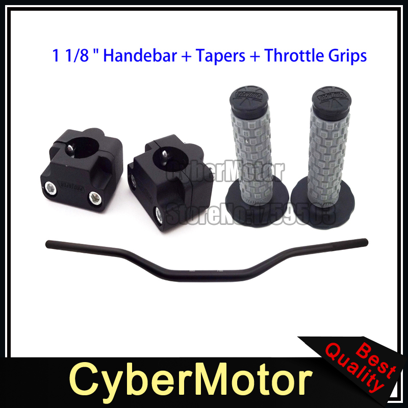 Motocross 28mm 1 1/8 Fat Handlebar Throttle Handle Grips Bar Risers Taper Clamp ATV Quad Pit Dirt Bike Black