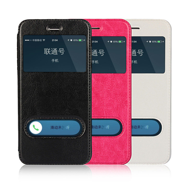 Para Apple iPhone 6 Funda Flip Wallet Funda para teléfono con ventana inteligente para iPhone 6s Plus iPhone 5s Funda SE Cubierta para teléfono Shell