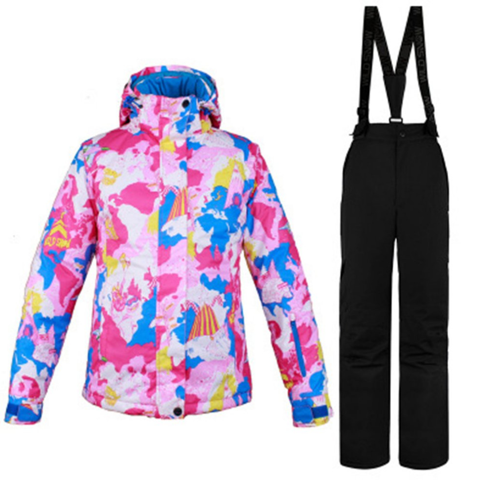 2018 nouveau costume de Ski d'hiver femmes ensemble coupe-vent imperméable à l'eau chaud Ski snowboard costumes ensemble mâle extérieur chaud veste de Ski + pantalon