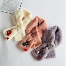 Милый зимний детский шарф с искусственным кроликом и меховым воротником для девочек, теплые шарфы, толстый шейный платок, шарф для маленьких девочек, кольцо на Рождество