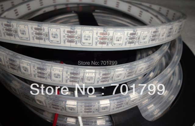 4m DC5V WS2812B led pixel srip,IP68,60pcs WS2812B/M with 60pixels;WHITE PCB,IP68;epoxy resin filled in the tube