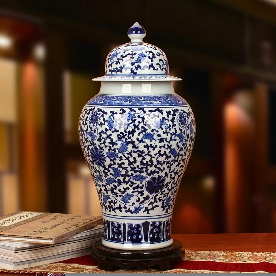 Ancient Home Decorate Porcelain Vase Temple Jar Blue And