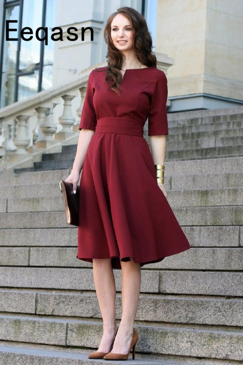 Burgundy Short Cocktail Dresses 2019 For Women Wear Knee Length Half Sleeves Pleated Sexy Elegant Party Prom Gowns