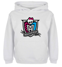 Unisex Sweatshirts For Men Long sleeves Monster High Group logo skull head tied with a pink bow   Autumn Winter Couple Hoodies