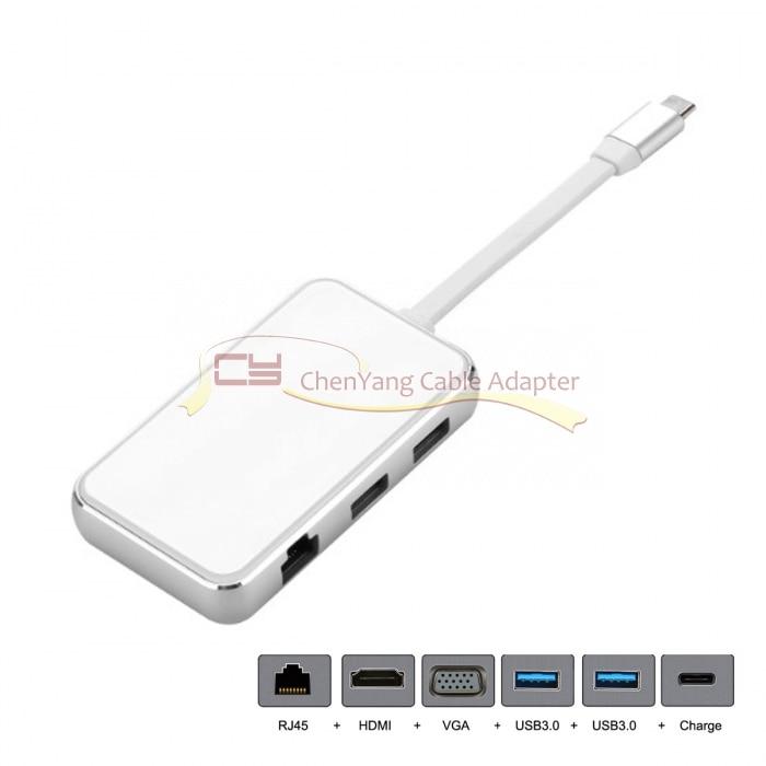 CY USB C USB 3,1 Тип C к HDMI VGA USB концентратор OTG Ethnernet заряжен адаптер док станции для хромированной книги XPS13 с портом type C - 3