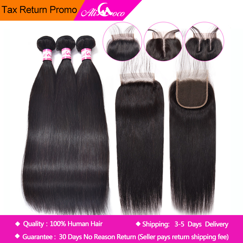 Ali Coco Straight Hair Bundles With Closure Brazilian Hair Weave - Mänskligt hår (svart)