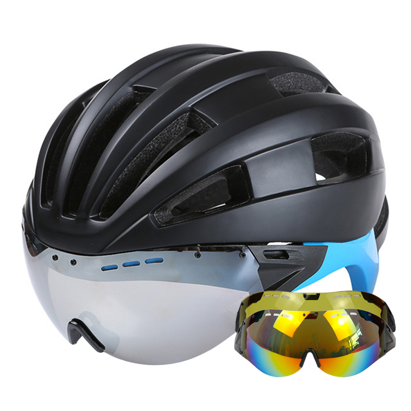 Goggles Cycling Helmet CE Certification Ultralight Road Mountain MTB Bike Bicycle Helmet With Goggles Glasses Casco Ciclismo moon 180g cycling helmet ce certification bike ultralight bicycle helmet casco ciclismo road mountain mtb bike helmet