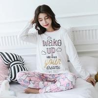 2017 Nieuwe Herfst Winter Lange Mouwen Pyjama Vrouwen Pak Meisje Pijamas Mujer Volledige Katoen Thuis Doek Leisure Tijd Leuke vrouwen Sets