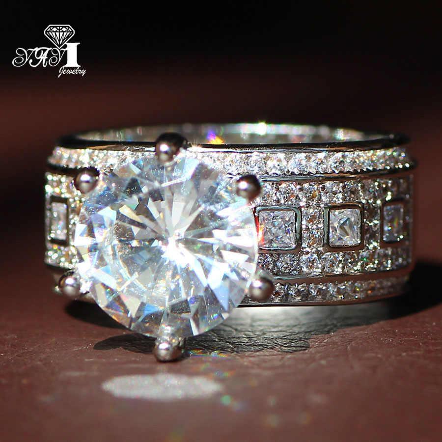 Yayi jóias moda princesa corte enorme 4.6ct branco zircão prata cor noivado anéis de casamento anéis de festa