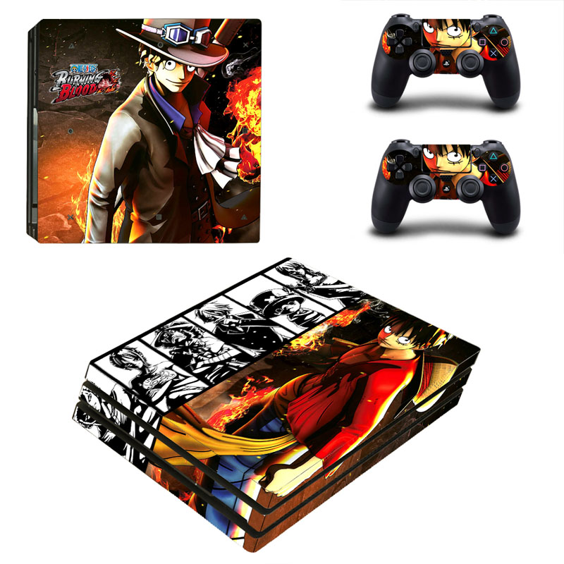 One Piece PS4 PRO Skin Sticker for Sony PS4P Console and 2 Controllers Decal Cover Game Accessories