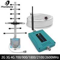 Five Band 700/900/1800/2100/2600MHz Cellular Amplifier 2g 3g 4g GSM Repeater 70dB Mobile Signal Booster Gsm 3G 4G LTE Amplifier