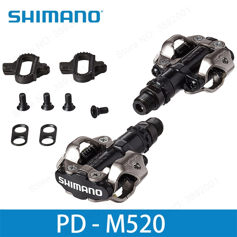SHIMANO PD-M520 SPD Pedals with Cleats MTB Bicycle Racing Mountain Bike Parts PD M520 shimano 2015 pd m530 black mtb mountain xc clipless bike spd bicycle cycling pedals inc cleats pd m530 pedal