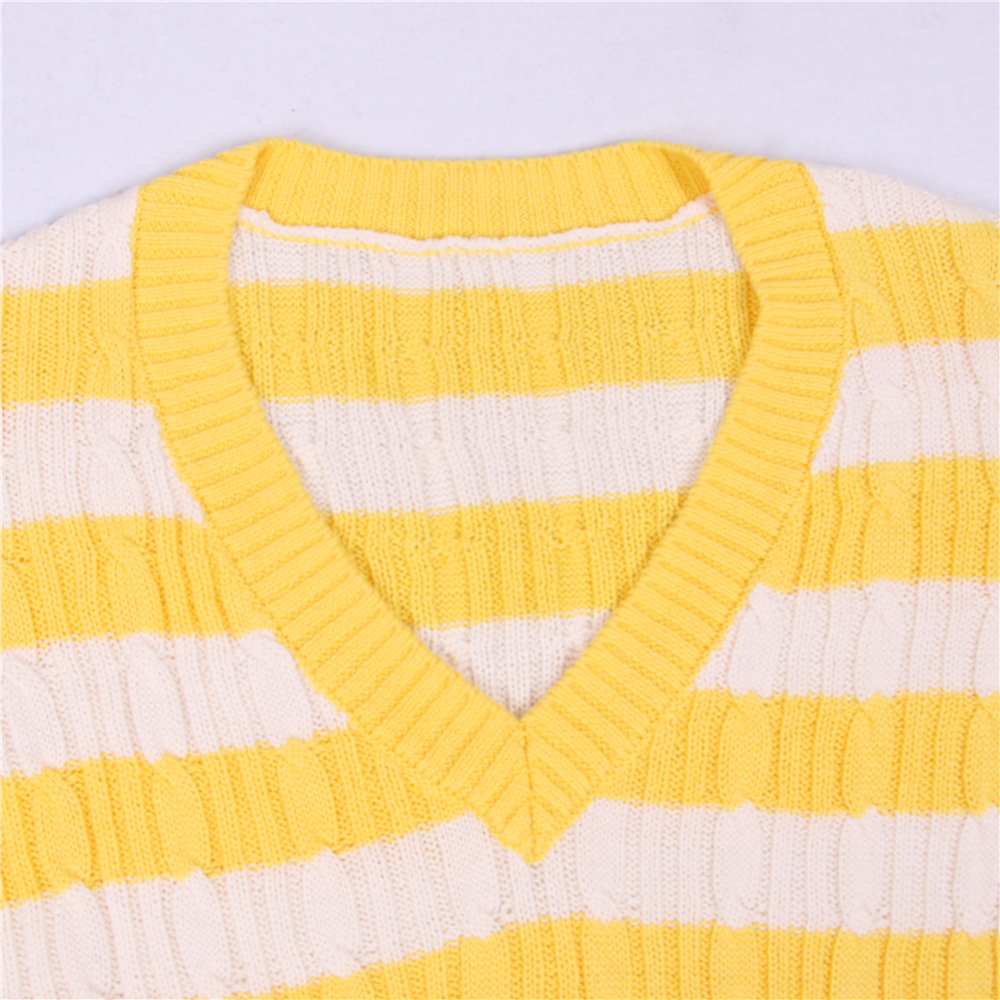 Tunjuefs Design Lolita Jumper V-Neck Pullover Long Sleeve Women Sweater 2019 New Autumn Blouse Striped Knit Top Jersey Fashion