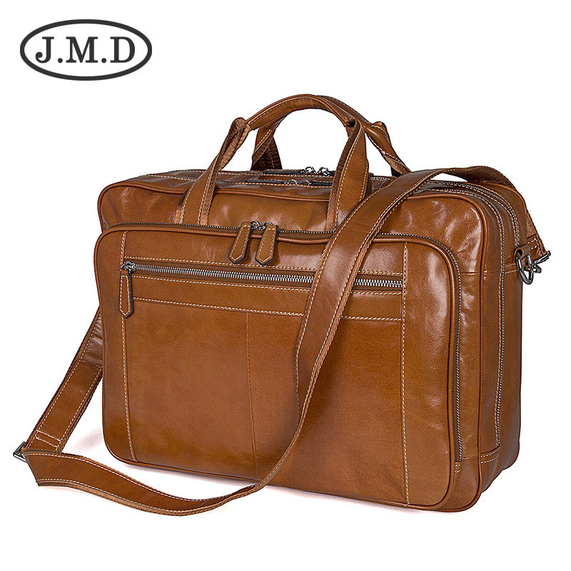 J.M.D 2019 New Men's Genuine Leather Shoulder Messenger Bag Briefcase Large Handbag 7380