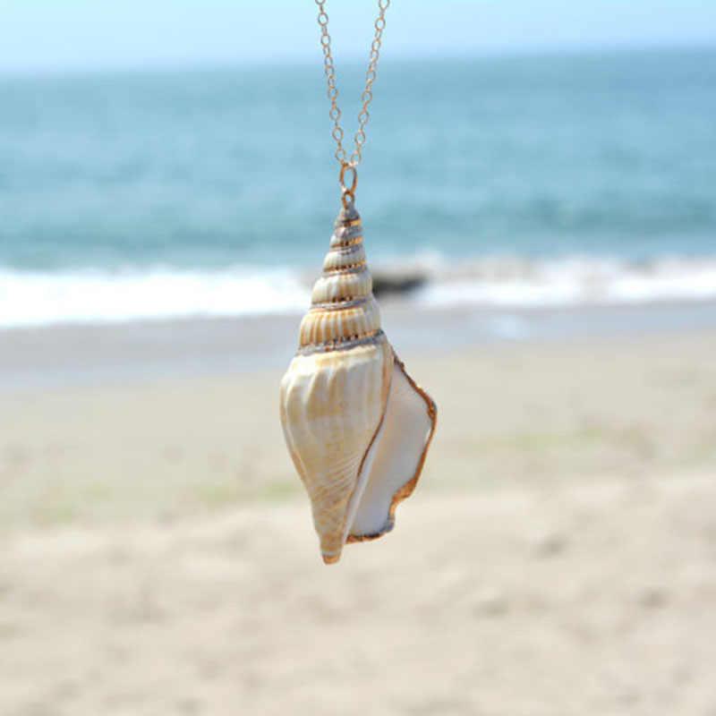 ฤดูร้อนสร้อยคอ Boho ปลาดาวธรรมชาติ Conch Sea Shell จี้สร้อยคอสร้อยคอยาวผู้หญิงเครื่องประดับ Bohemian COLLAR mujer
