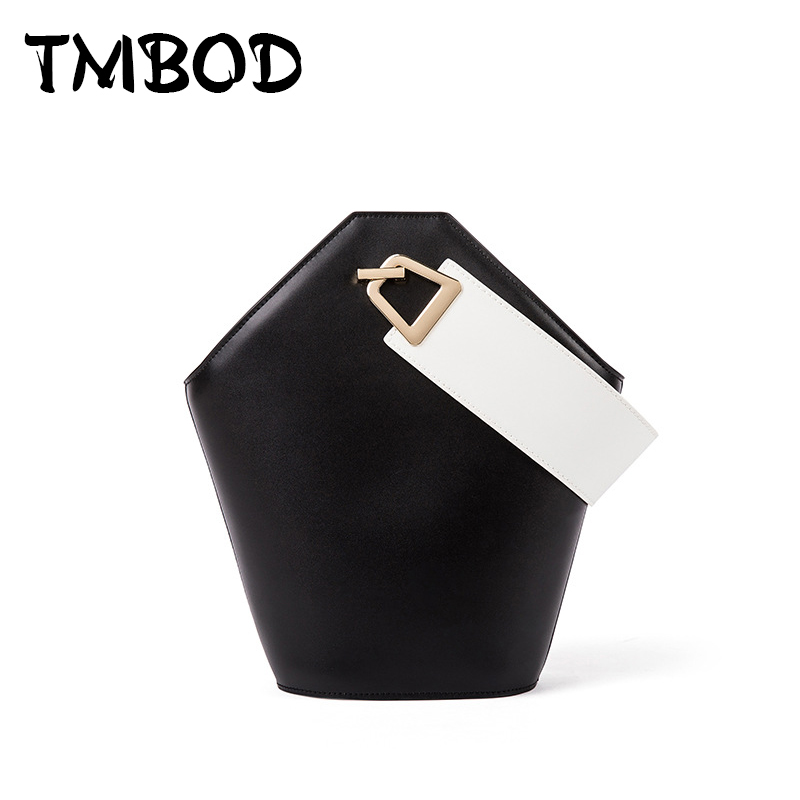 New 2017 Designer Classic Simple Bucket Bag Panelled Tote Women Split Leather Handbags Ladies Shoulder Bags