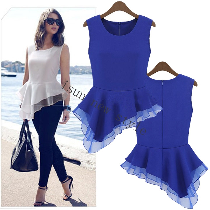 2015 Top design Women Ladies Peplum Irregular Sleeveless Frill Fitted Shirt  Tails high quality Chiffon Blouse Vintage Shirt in Blouses   Shirts from  Women s. 2015 Top design Women Ladies Peplum Irregular Sleeveless Frill