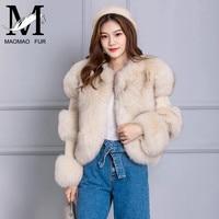 Women Winter Real Fox Fur Coat Jacket Big Fur Long Sleeve Coats Fox Fur Rabbit Fur Stitching Overcoat