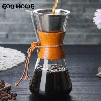 550 ml 높은 붕 규산염 유리 부어 커피 냄비 수동 물방울 냄비 고온 방지 유리 커피 메이커 coffeeware
