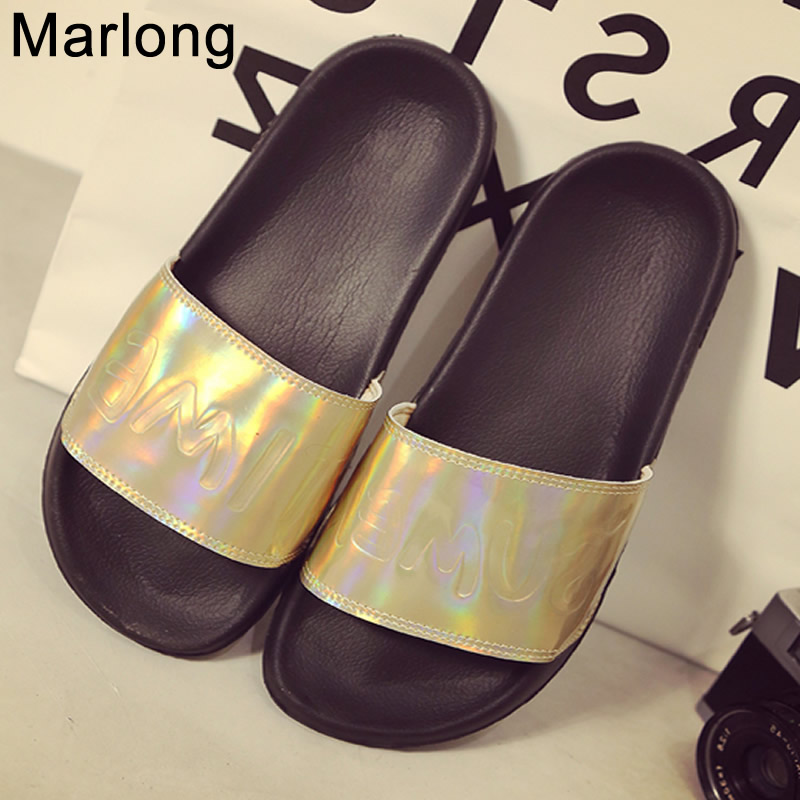 Marlong Women Slides Fashion Laser Slippers Sandals Summer Bling Beach Slides Flip Flops Comfortable Flat Shoes Chaussure Femme