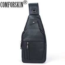 COMFORSKIN Brand Bolsa Masculina New Arrivals European And American Chest Bags 2018 Luxurious Genuine Leather Cross-body