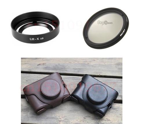 3 in 1 NiSi 40mm Slim Circular Polarising CPL Filter + LH-X10 Lens hood + Camera bag case for Fujifilm Fuji X10 X20 X-10 X-20