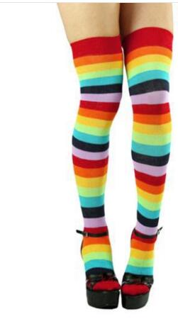 50 paris fedex fast Fashion Lady Girl charming Colorful Polyester Over Knee Stocking Rainbow high Tigh leggings